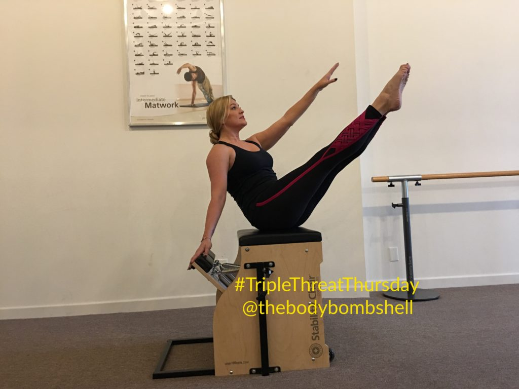 side body twist on chair with body bombshell fitness